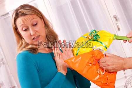 young blonde woman gets inappropriate gifts