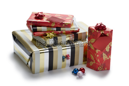 a pile of wrapped christmas or