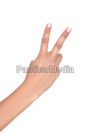 hand holding up two fingers