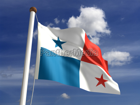 panama flag with clipping path