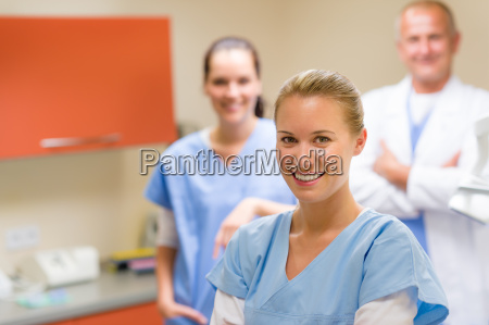 smiling medical professional team at the
