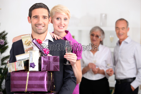 couple with christmas presents