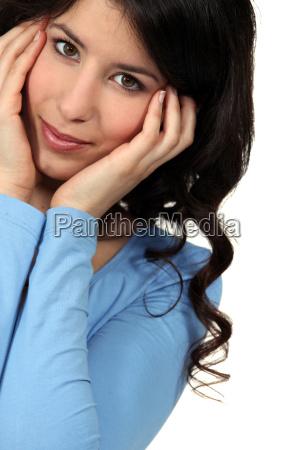 portrait of cute brunette in her