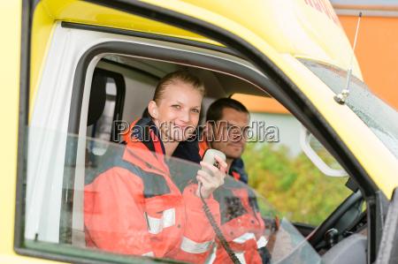 emergency paramedic in ambulance car talk
