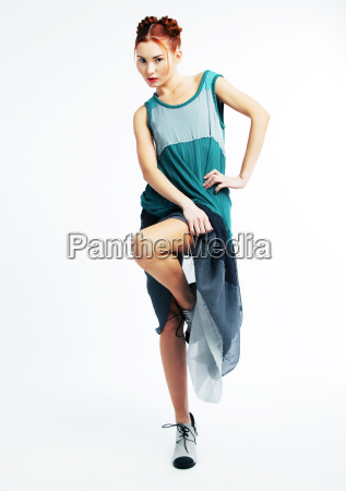 fashion model red hair girl in