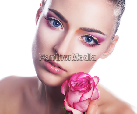 sensual beauty girl face with flower