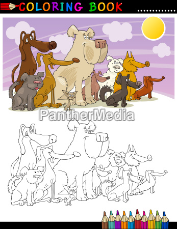 cartoon dogs for coloring book or