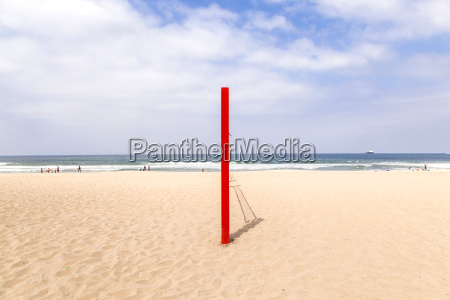 volleyball post at the beach in