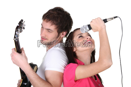 young woman with a guitar and