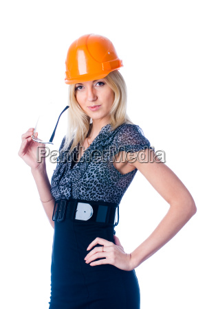 engineer woman in orange helmet