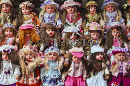 many colorful dolls