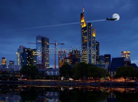 flight over frankfurt at night
