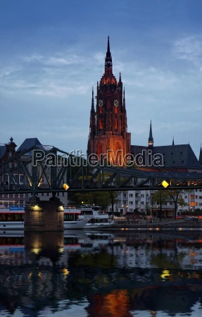 church cathedral bridge mirroring frankfort boats