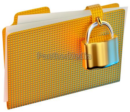 yellow folder with hinged lock