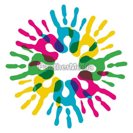 multicolor diversity hands circle