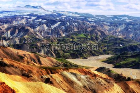 landmannalaugar colorful mountains landscape view iceland