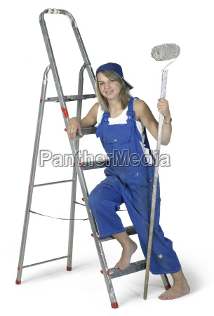 painting girl lean on a ladder