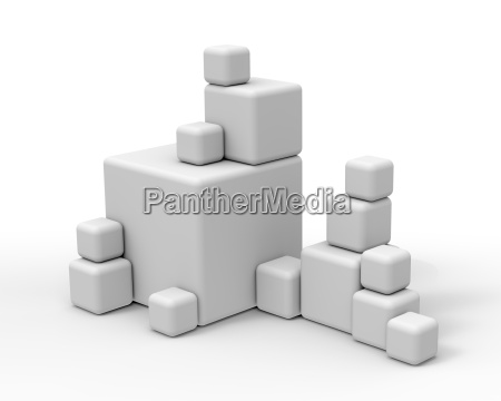 big and small white cubes