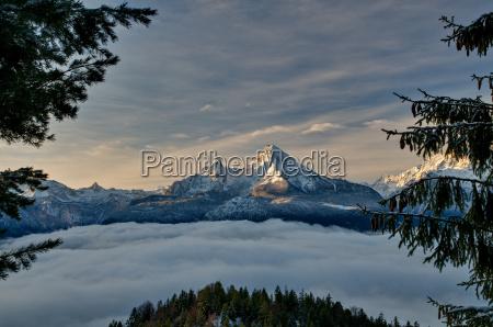 watzmann over the valley fog