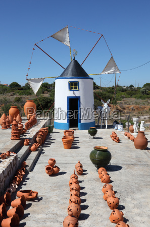 traditional windmill in algarve portugal