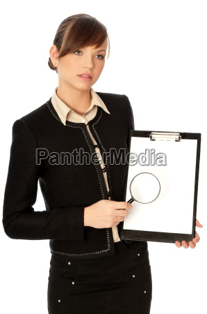 white blank paper with a magnifier