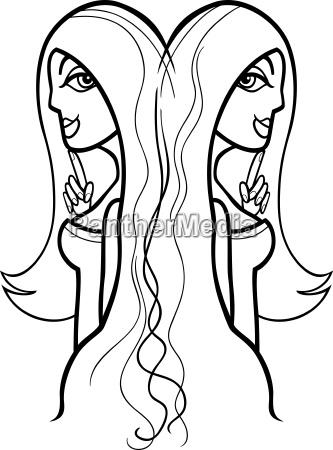 woman gemini sign for coloring