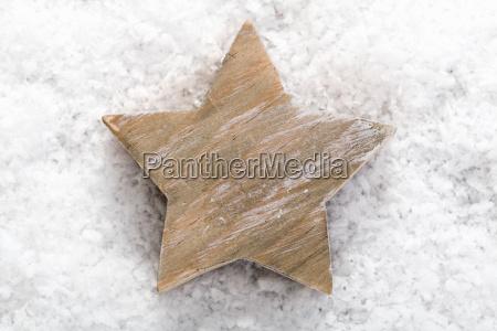 christmas star on snow