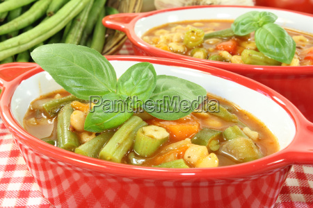 minestrone with fresh basil