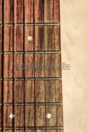 guitar neck fingerboard on detail close