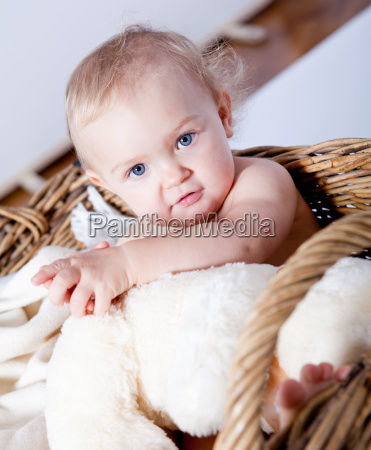 little baby child naked in a
