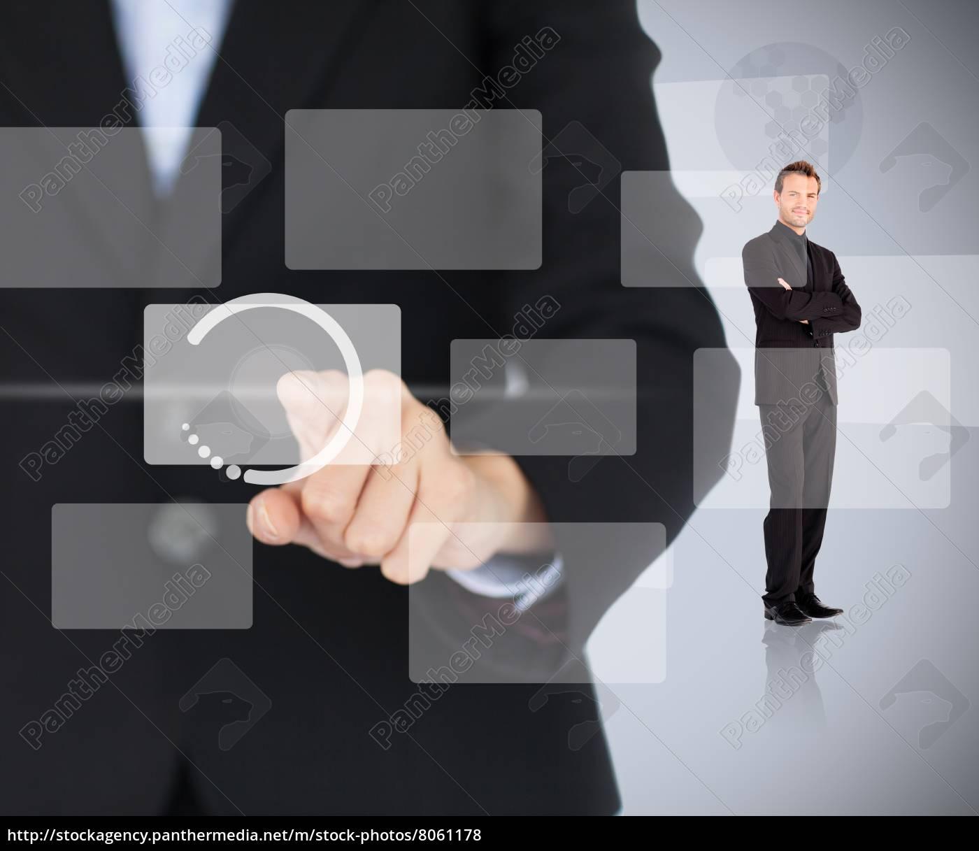 woman, touching, digital, menu, with, man - 8061178