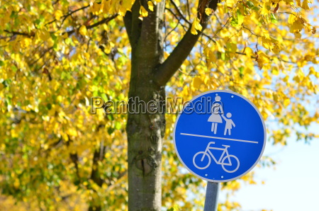 road sign for bike path and