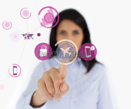 woman selecting airplane symbol from purple
