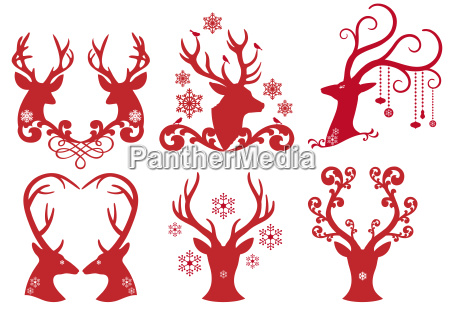 christmas deer stag heads