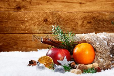 artistic christmas still life of fruit