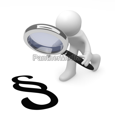 3d man with a magnifying glass