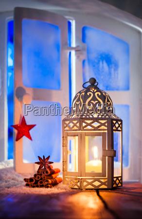christmas lantern in window