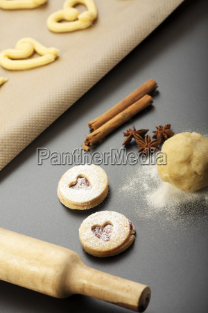 sprinkled pastry with a rolling pin
