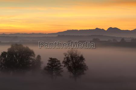 sunrise over the alps bavaria
