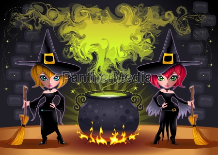 funny witches with pot