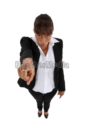 woman threatening with her finger isolated