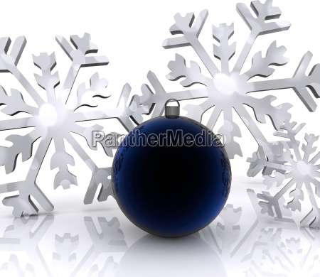 christmas background with snow and ball
