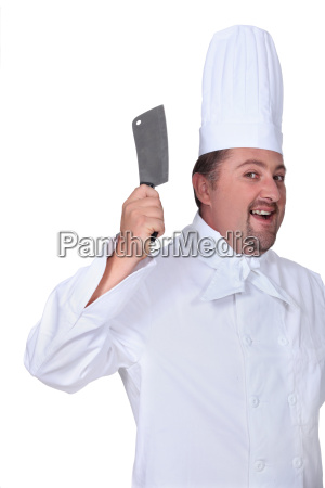 crazy butcher on white background