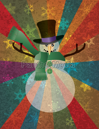 christmas snowman with snowflakes and colorful