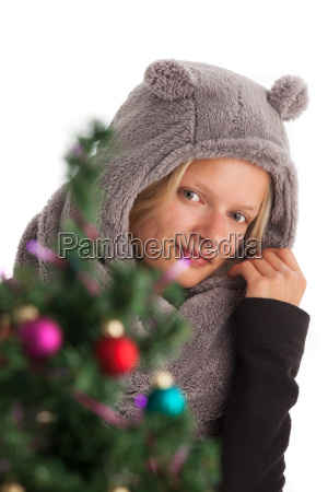 young woman with hat and christmas