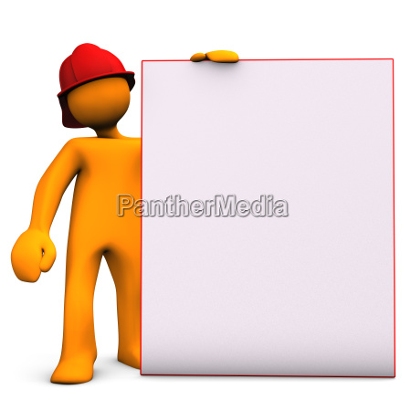 fireman with noticeboard