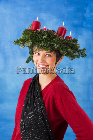laughing woman with wreath