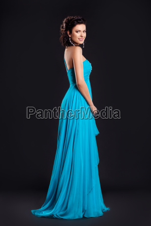 fashion young woman in funky blue