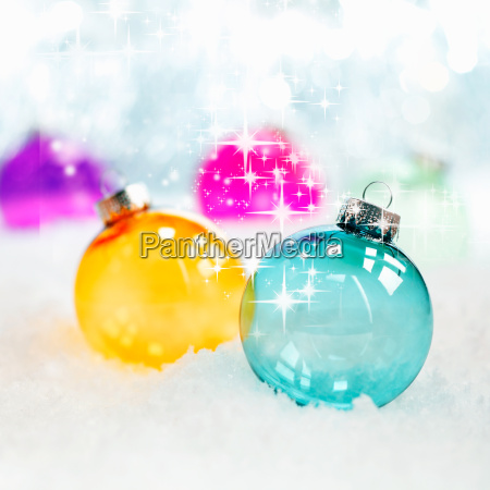 colourful translucent glass baubles