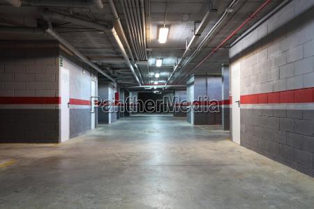 empty underground garage in a residential